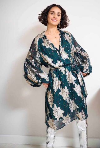 donkere jurk met geborduurde details party pops sp6756