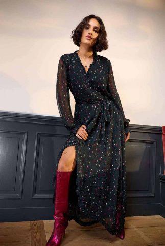 maxi jurk met gekleurde streepjes en strikceintuur party pops sp6757