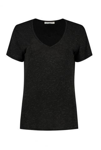 zwart t-shirt met v-hals en gouden details porto t-shirt w20.67.4211