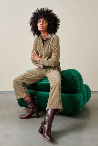 grijs / groene velours jumpsuit met ritssluiting poster r0792