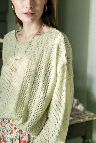 groene opengewerkte trui met knoop details crissy