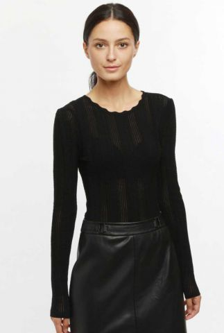 zwarte top met ingeweven dessin pull makayla 60237
