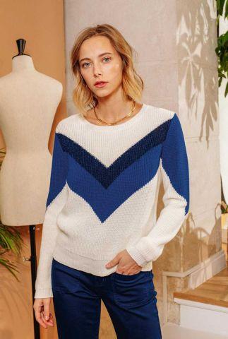 ecru kleurige trui met ingebreid blauw lurex dessin pull stan
