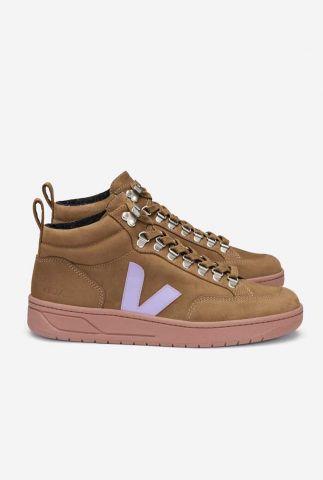 half hoge bruine sneakers met lila logo roraima nubuck qr1302699