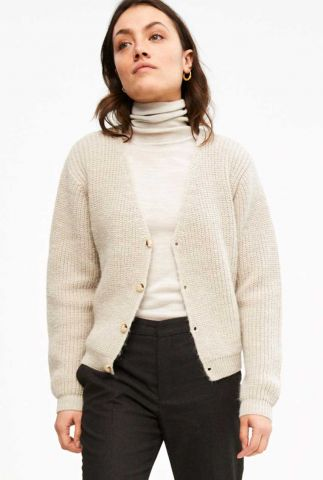 grof gebreid vest met v-hals quinty cardigan