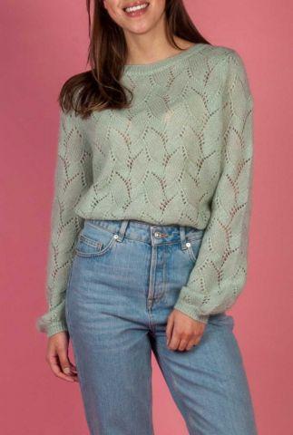 licht groene fijngebreide trui met ajour details rachel knit