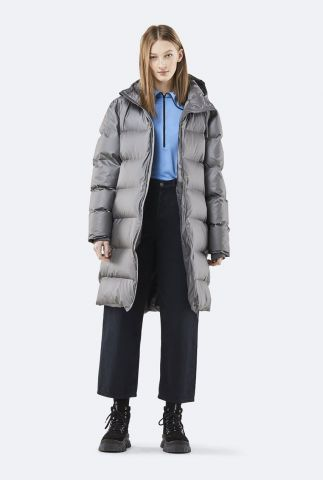 Lange gewatteerde winterjas long puffer jacket 1507 metallic