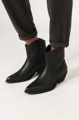 zwart leren cowboy laarzen raquel black