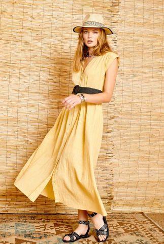 licht gele doorknoop maxi jurk van katoen ravozi