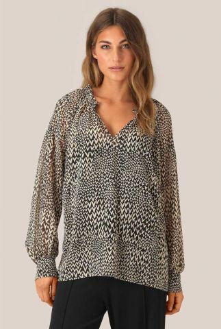 semi-transparante top met all-over hartjes dessin real ls blouse