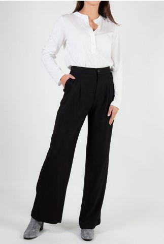 zwarte viscose high waist broek met wijde pijpen refka