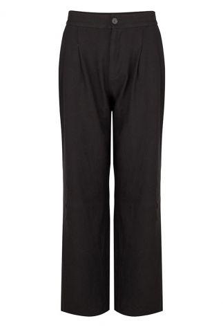 zwarte viscose broek met high waist en wijde broekspijp refka