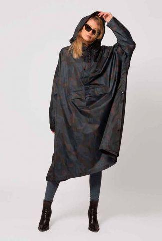 zwarte regenponcho met camouflage print storm camo