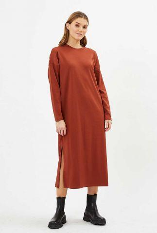 biologisch katoenen midi jurk met lange mouwen regizze 9047