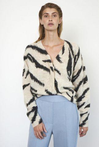 beige vest met ingebreide zwarte strepen van wolmix rego knit cardi