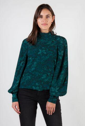 donker groene col top met grafische print Renett