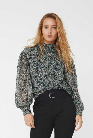 zwarte top met all-over print en lange ballonmouwen rhinna