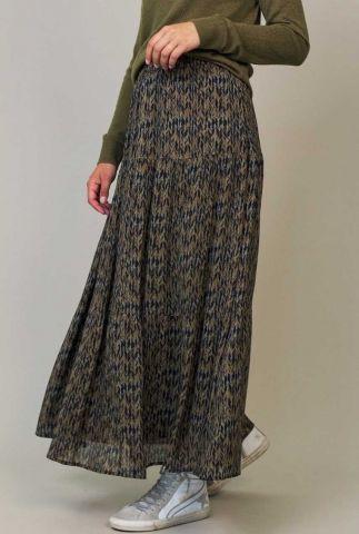 groene maxi rok met all-over print river skirt w21.47.2031