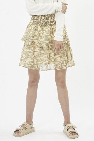 korte stroken rok met gele zebra print rivo 7455