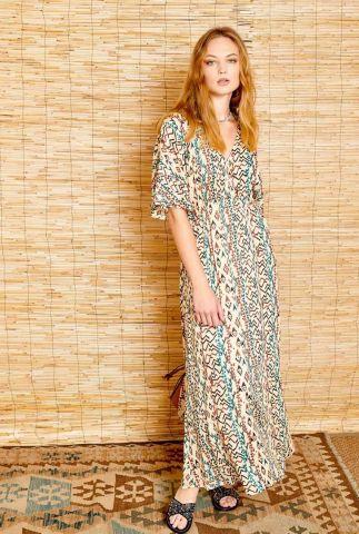 ecru kleurige viscose maxi jurk met djerba print rixi