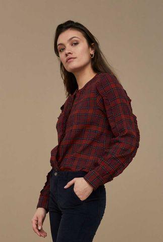 bordeaux rode blouse met ruit dessin roan check blouse
