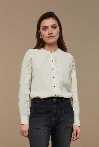 zand kleurige blouse met ruches detail roan slub blouse