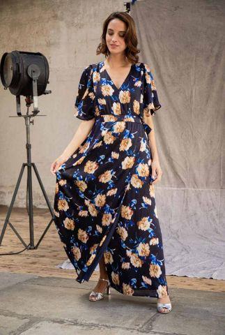 donkerblauwe maxi jurk met wijde mouwen en bloemen dessin amela