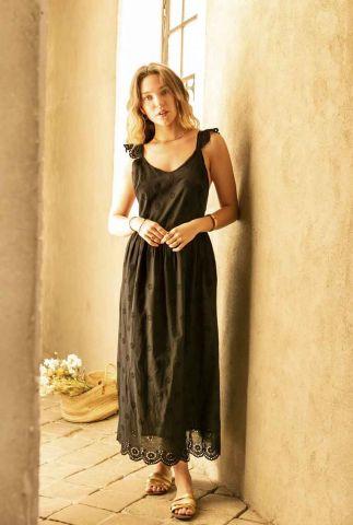 zwarte maxi jurk met opengewerkt bloem dessin lysea