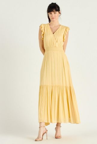 gele maxi jurk met glitter strepen dessin en ruches paulo 58128