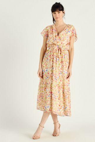lichte maxi jurk met bloemen dessin en ceintuur rebecca 58180