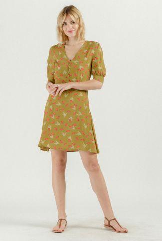 groene viscose jurk met v-hals en botanische print robe sofia 54146