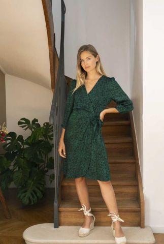 donker groene wikkel jurk met all-over print sonoma