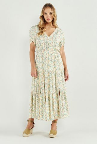 jurk met bloemen dessin en kanten details victorina 58186