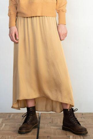 gele satijnen midi rok met elastische tailleband s21f901