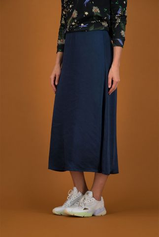 donker blauwe satijnlook rok met lurex taille band nightblue sp6354