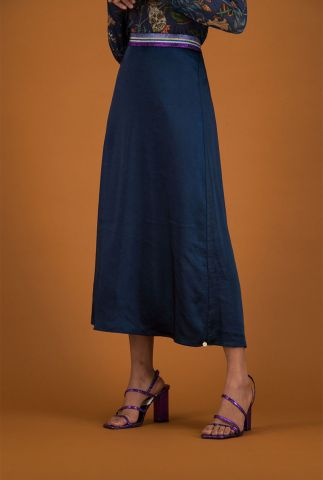 donker blauwe midi rok met lurex taille band nightblue sp6354