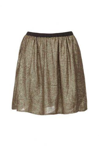 sierlijke gouden mini rok met elastische taille band castuna