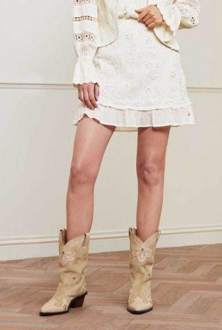 off-white mini rok met ruffles en geborduurde details flower frill skirt