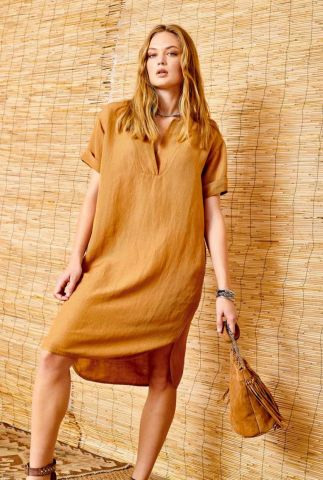licht bruine linnen jurk met stiksel detail rolabi