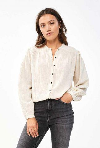 ecru kleurige blouse van katoen en linnen romee slub blouse
