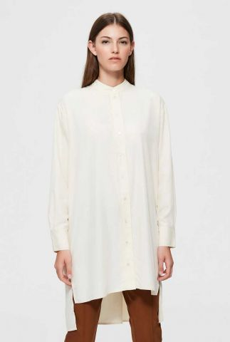 lange off-white blouse met zij split romena shirt 16076083