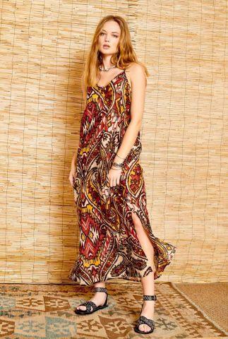 maxi jurk met spaghetti bandjes en kavir print rouga