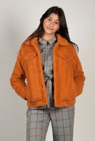 oranje teddy jas met drukknopen roy jacket
