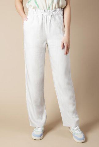 grijze broek met elastische tailleband en strik rond enkel roze