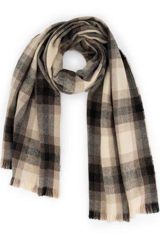bruine sjaal met ruit dessin ruby scarf w20.120.1136