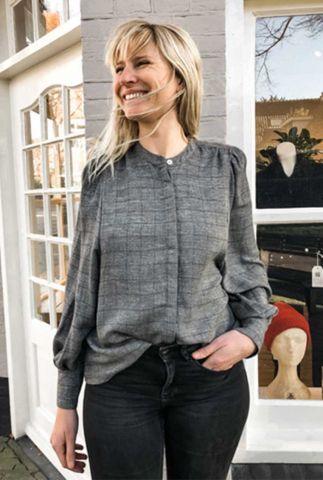 grijze viscosemix blouse met ingeweven ruit dessin bela