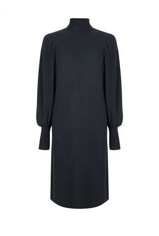 petrol kleurige zachte jurk met kasjmier en col vasca