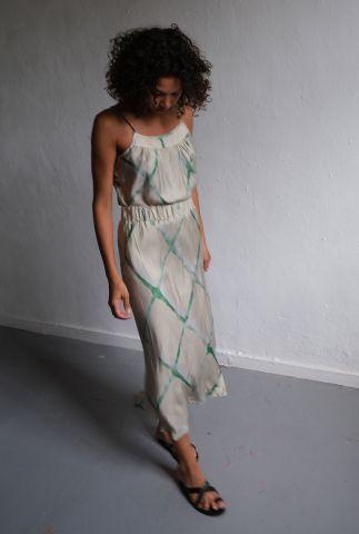 lange crèmekleurige rok met groene aquarel print magali