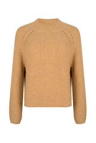 oker gele wolmix trui met ajour details vieve taffy