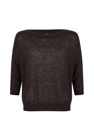 antraciet kleurige trui van een wolmix met 3/4 mouwen vajen